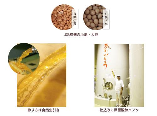 JAS有機の小麦・大豆。深層発酵タンク。化学調味料不使用、有機白醤油が作られます。